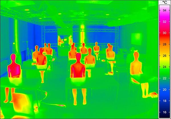 Die Wärmeabgabe jedes Menschen erzeugt eine Auftriebsströmung, die die Strömung in einem Raum wesentlich beeinflusst.