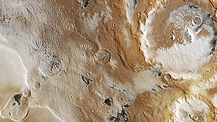 Eis in der Region Promethei Planum auf dem Mars