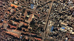 Einzelnes Luftbild des Durbur Square in Kathmandu vor dem Erdbeben als Senkrechtaufnahme mit 10 Zentimeter Bodenauflösung