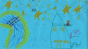 Das Siegerbild des Namenswettbewerbs für den australischen Satelliten - gemalt von der sechsjährigen Bailey Brooks.
