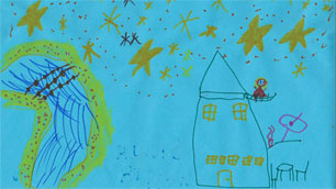 Das Siegerbild des Namenswettbewerbs für den australischen Satelliten %2d gemalt von der sechsjährigen Bailey Brooks.