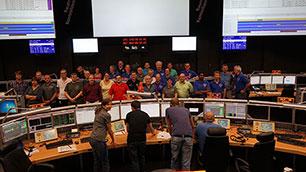 Das BIROS-Team im Deutschen-Raumfahrt-Kontrollzentrum (GSOC) in Oberpfaffenhofen