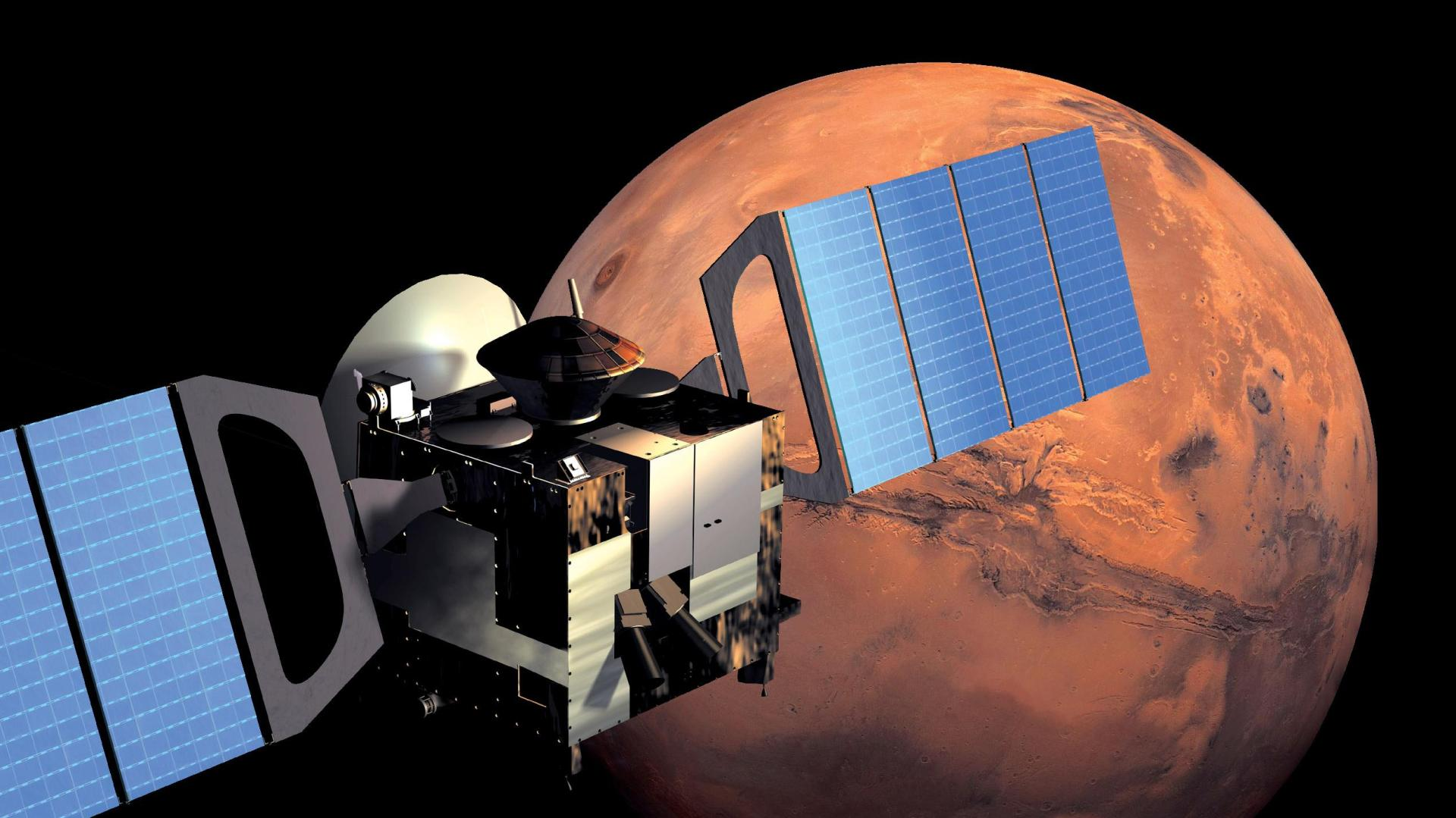 Mars Express in einem Orbit um den Mars