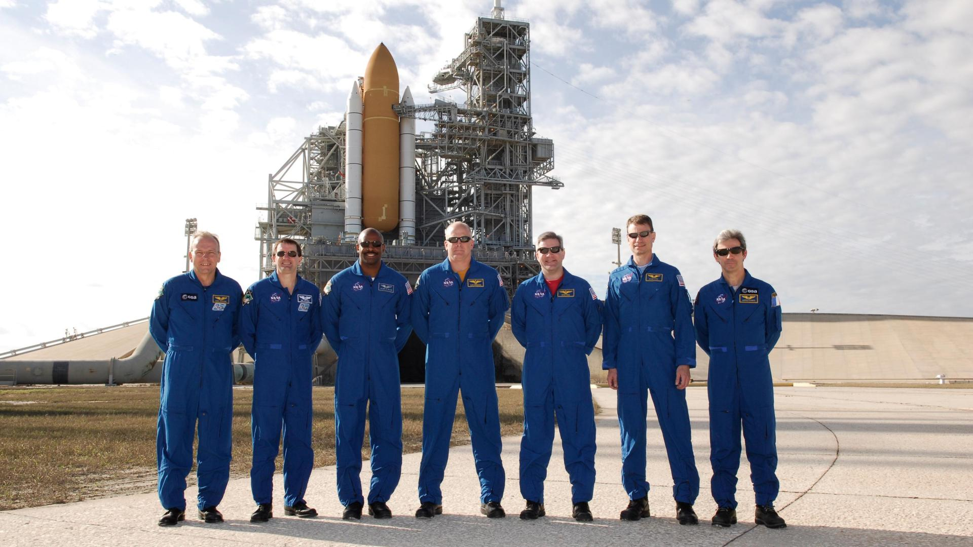 The STS-122 Crew at Launch Pad 39A at Kennedy Space Center