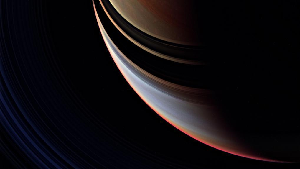 Saturn's cloud cover with a shadow cast by the rings