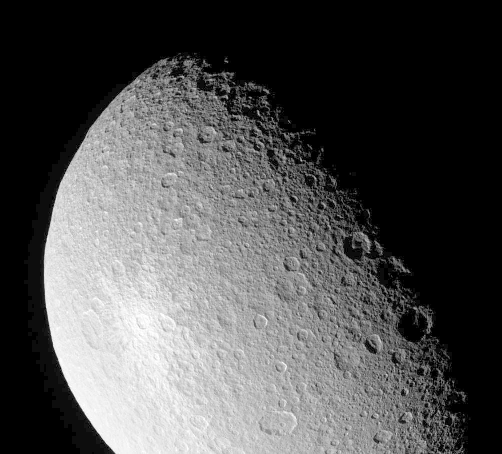 Surface of Saturn's moon Rhea
