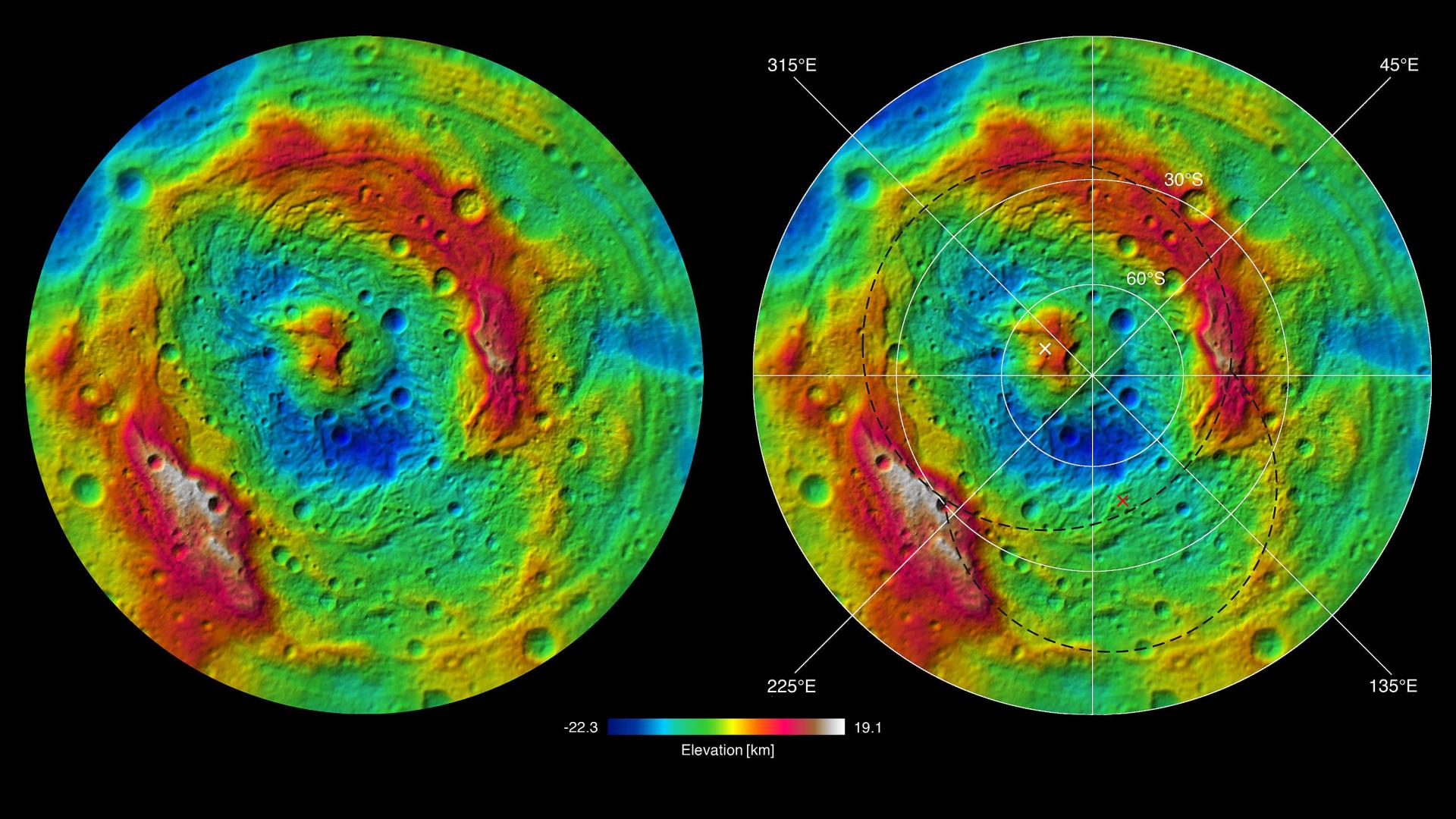 The topographical map reveals a double impact at Vesta's south pole