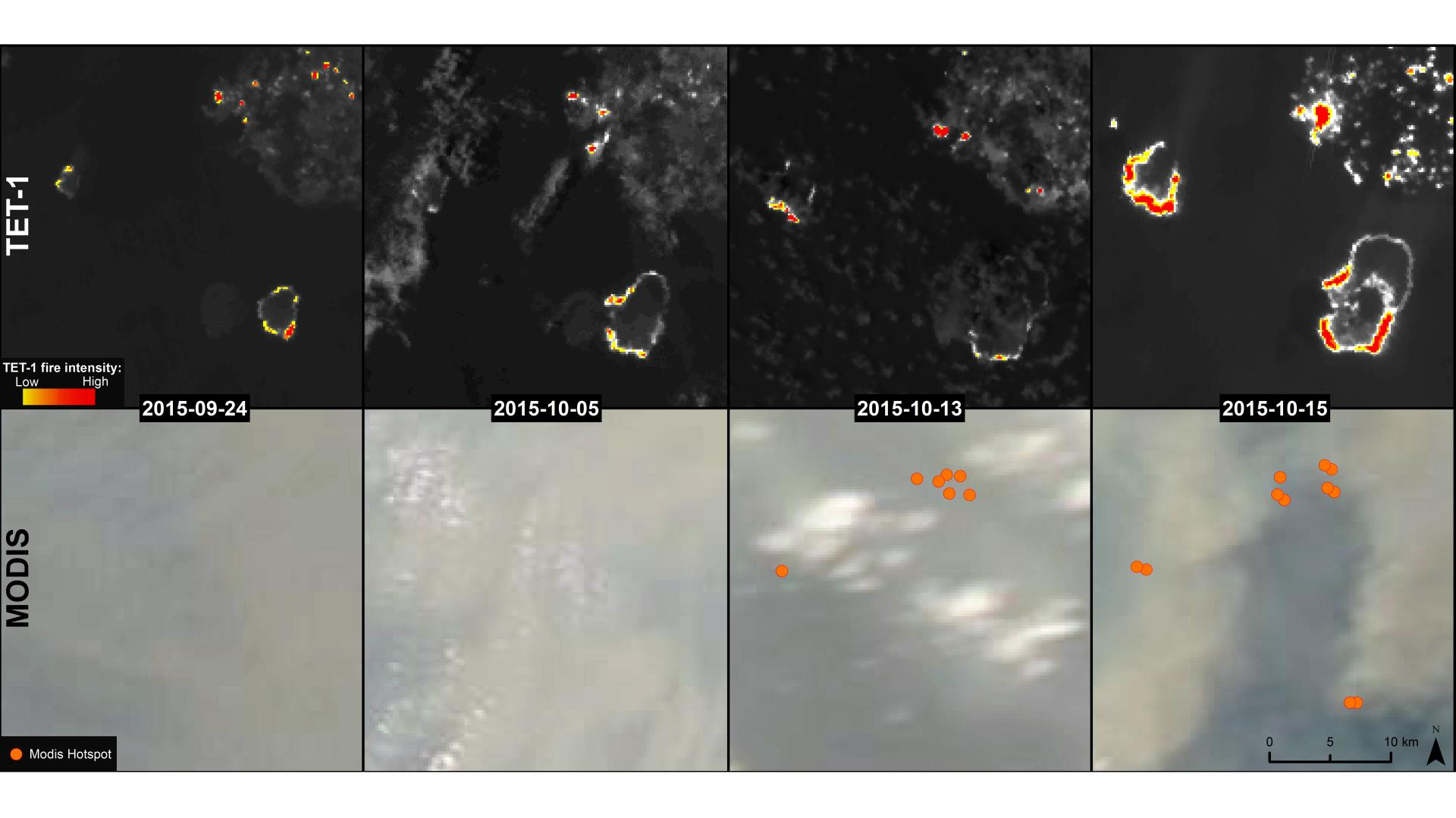 Time series images from TET and MODIS