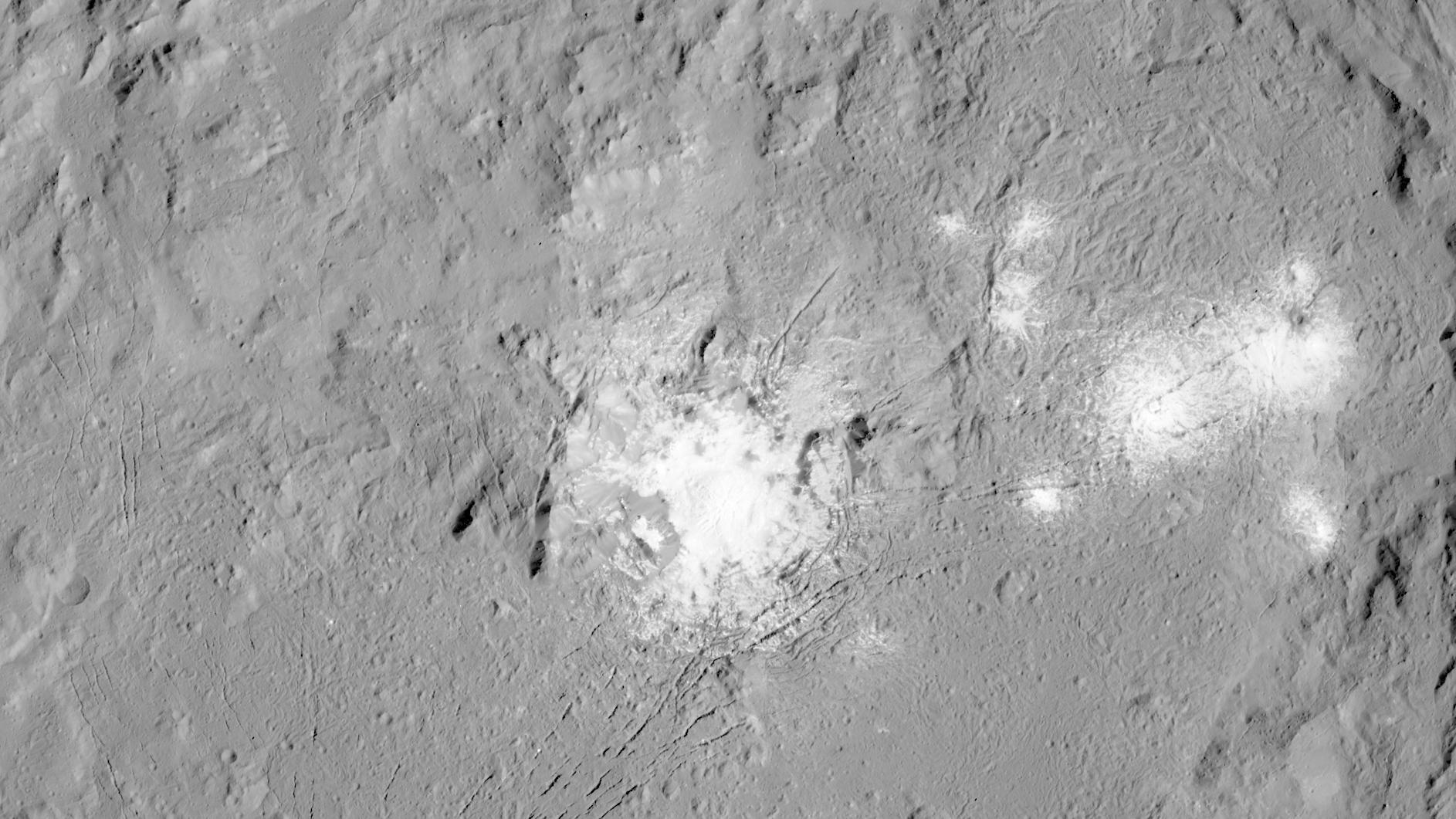 Cracks and bright spots in the Occator crater