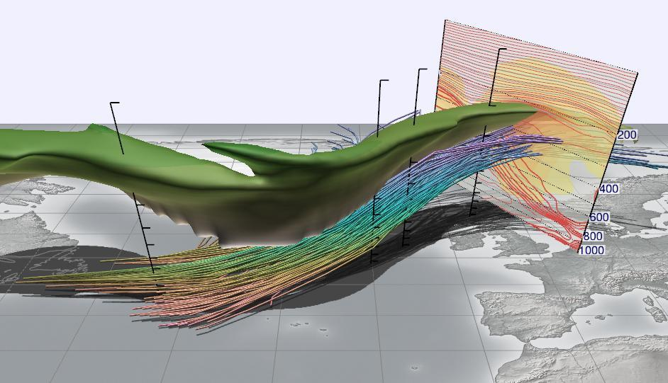Visualisation of ascending air masses over the Atlantic Ocean