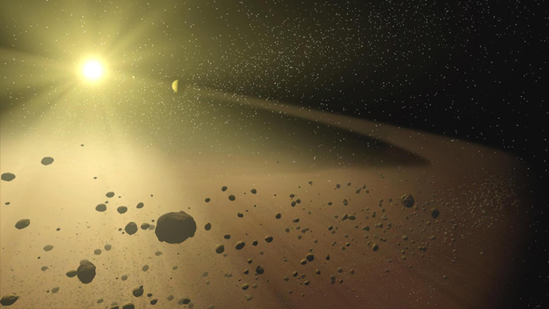 Artist's impression of the Asteroid Belt.