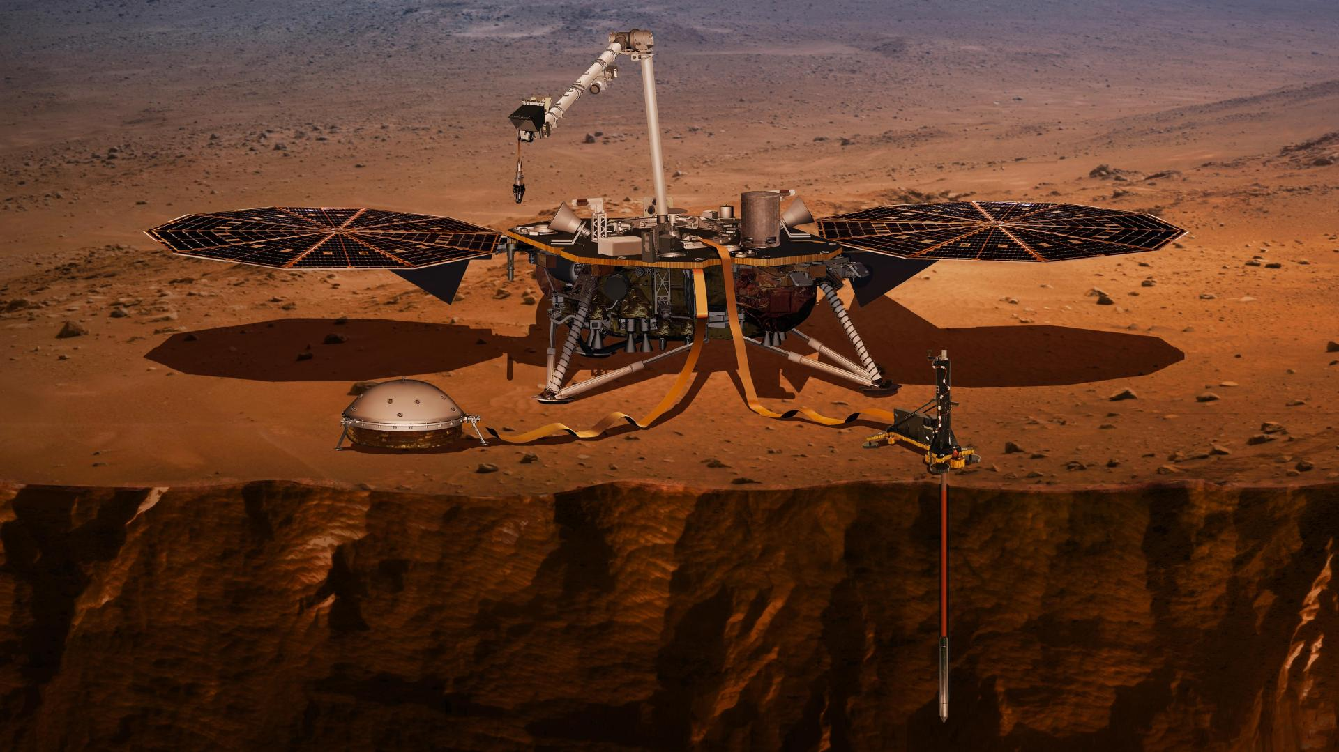 Artist's impression of the NASA InSight lander on the Martian surface