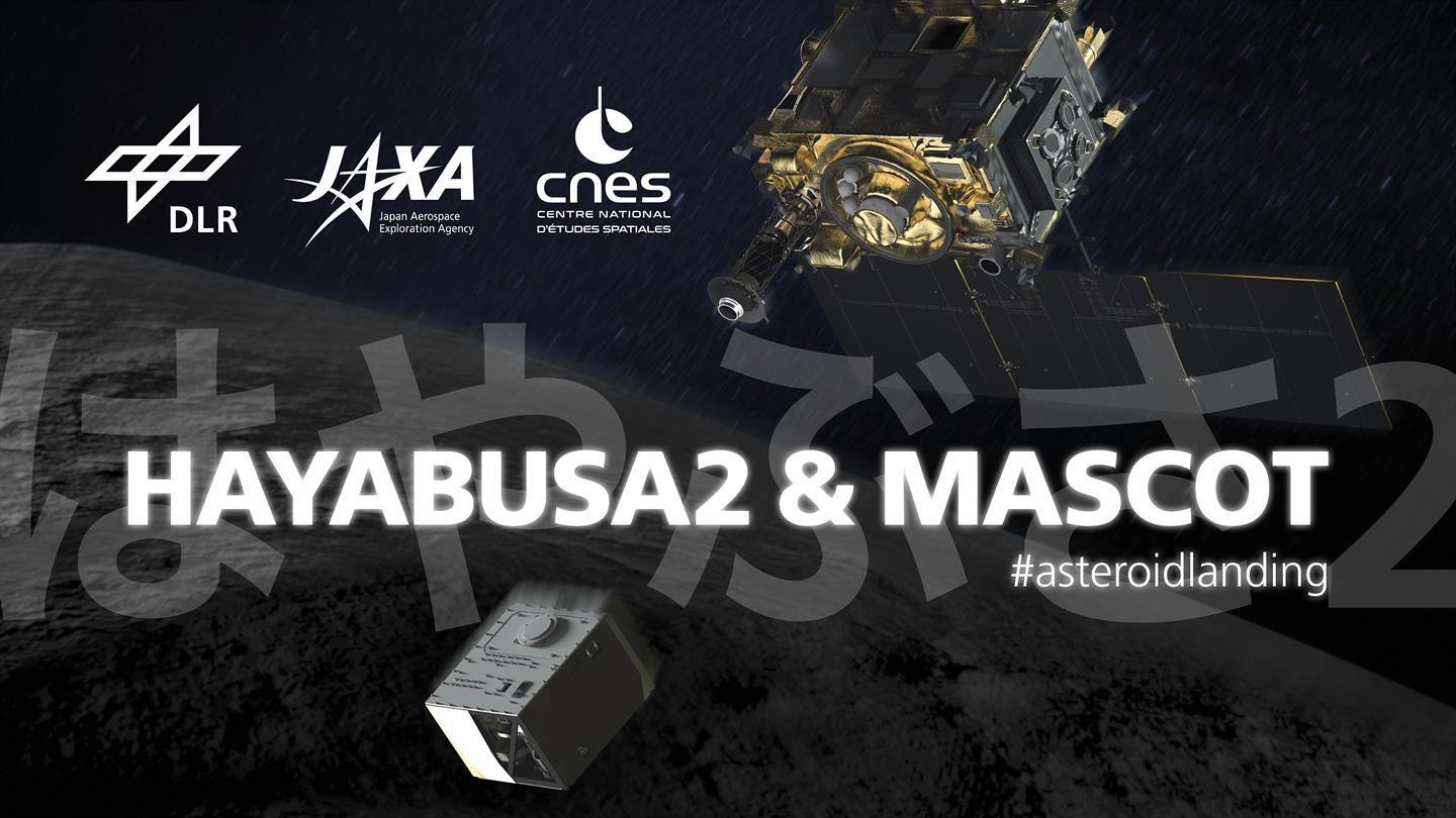 Banner of the exhibition on Hayabusa2 & MASCOT