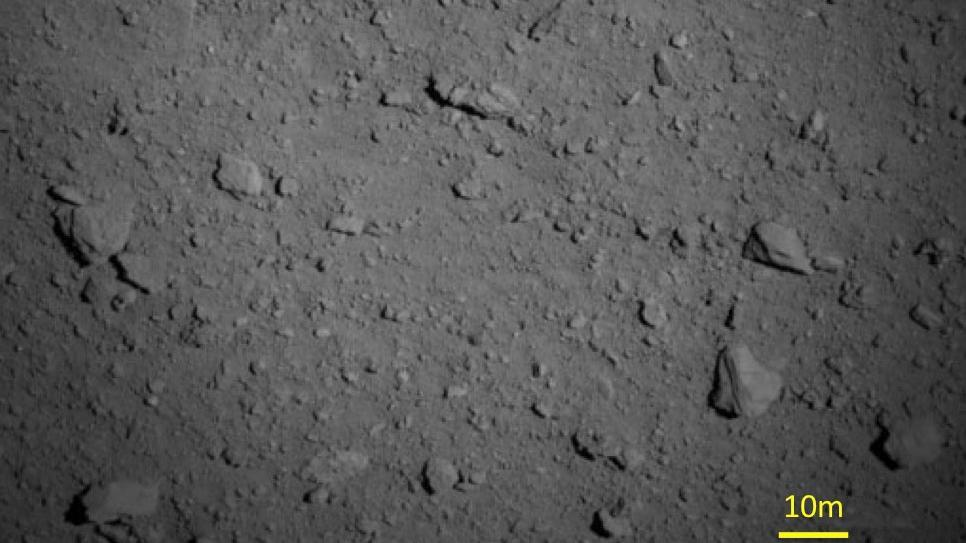 Close-up of the asteroid Ryugu