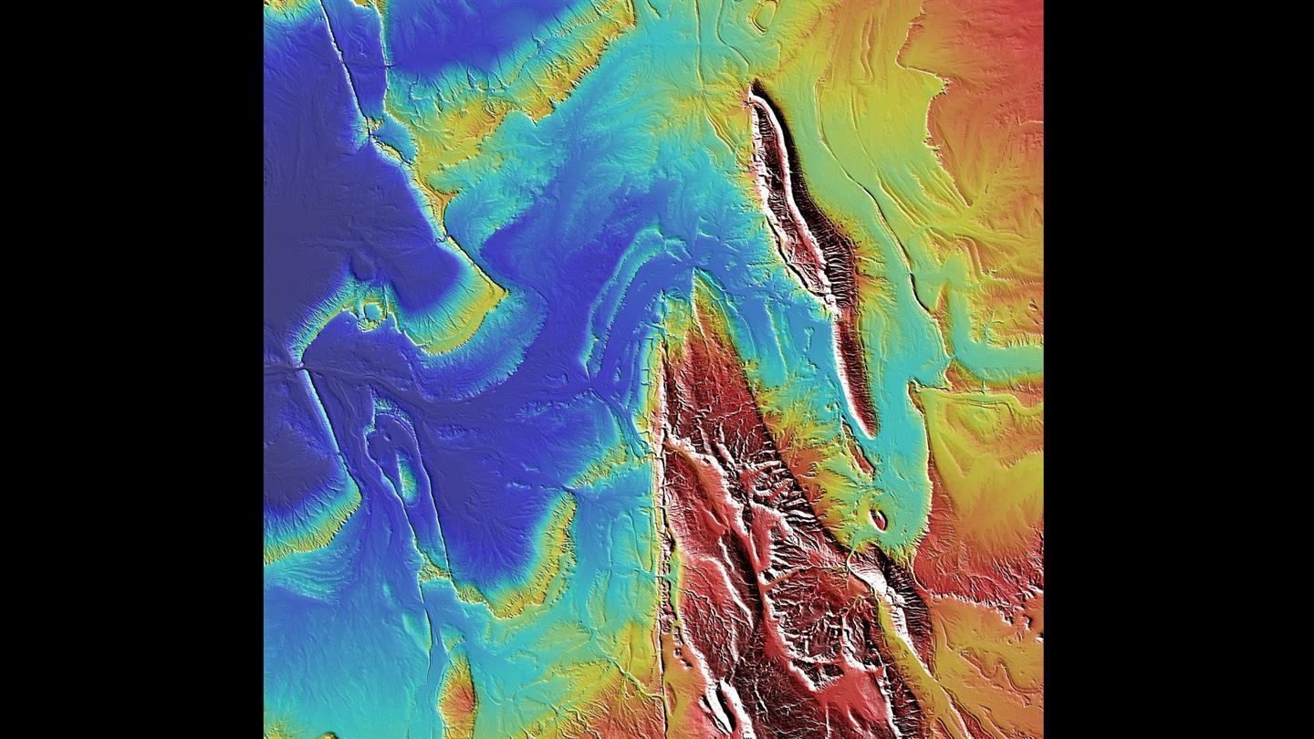 Detail from the TanDEM-X elevation model of the Sahara, showing part of the Tamanrasset province of central Algeria.