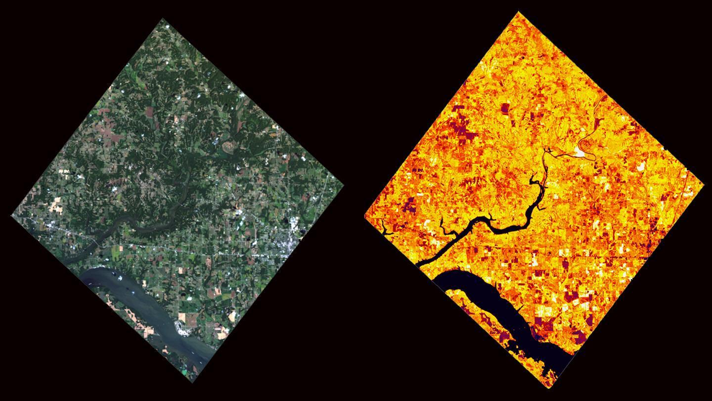 Optical image of the environment of Huntsville / Alabama and a processed image showing the vegetation density.