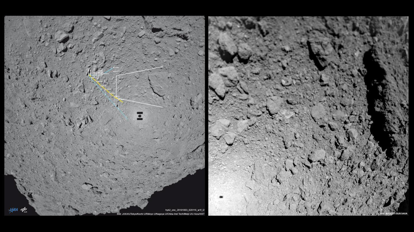 MASCOT image pointing east while descending on Ryugu