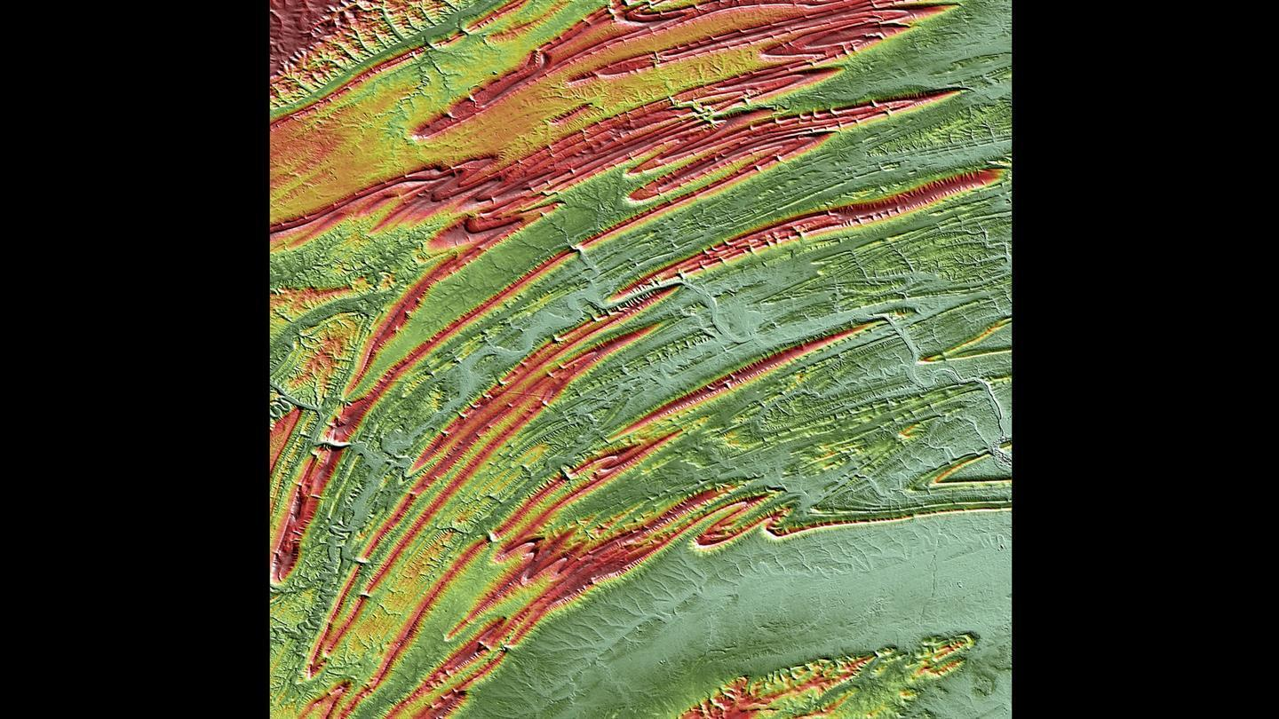 Detail from the TanDEM-X elevation model of the northern Appalachian Mountains in the US state of Pennsylvania.