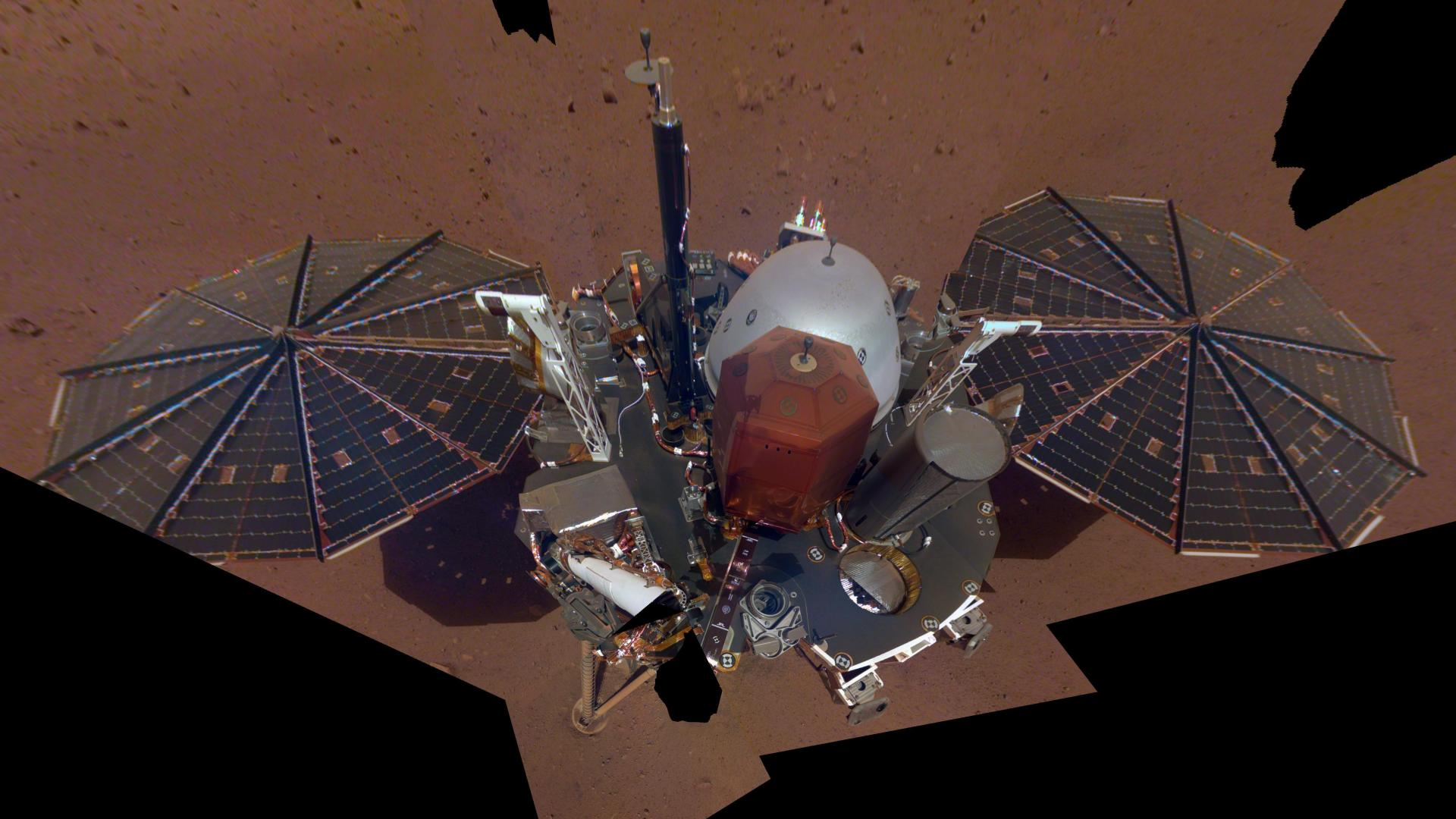 The InSight lander on the Martian surface
