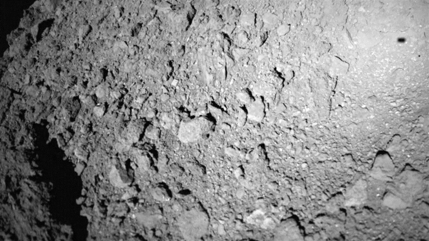 Shadow of MASCOT over asteroid Ryugu