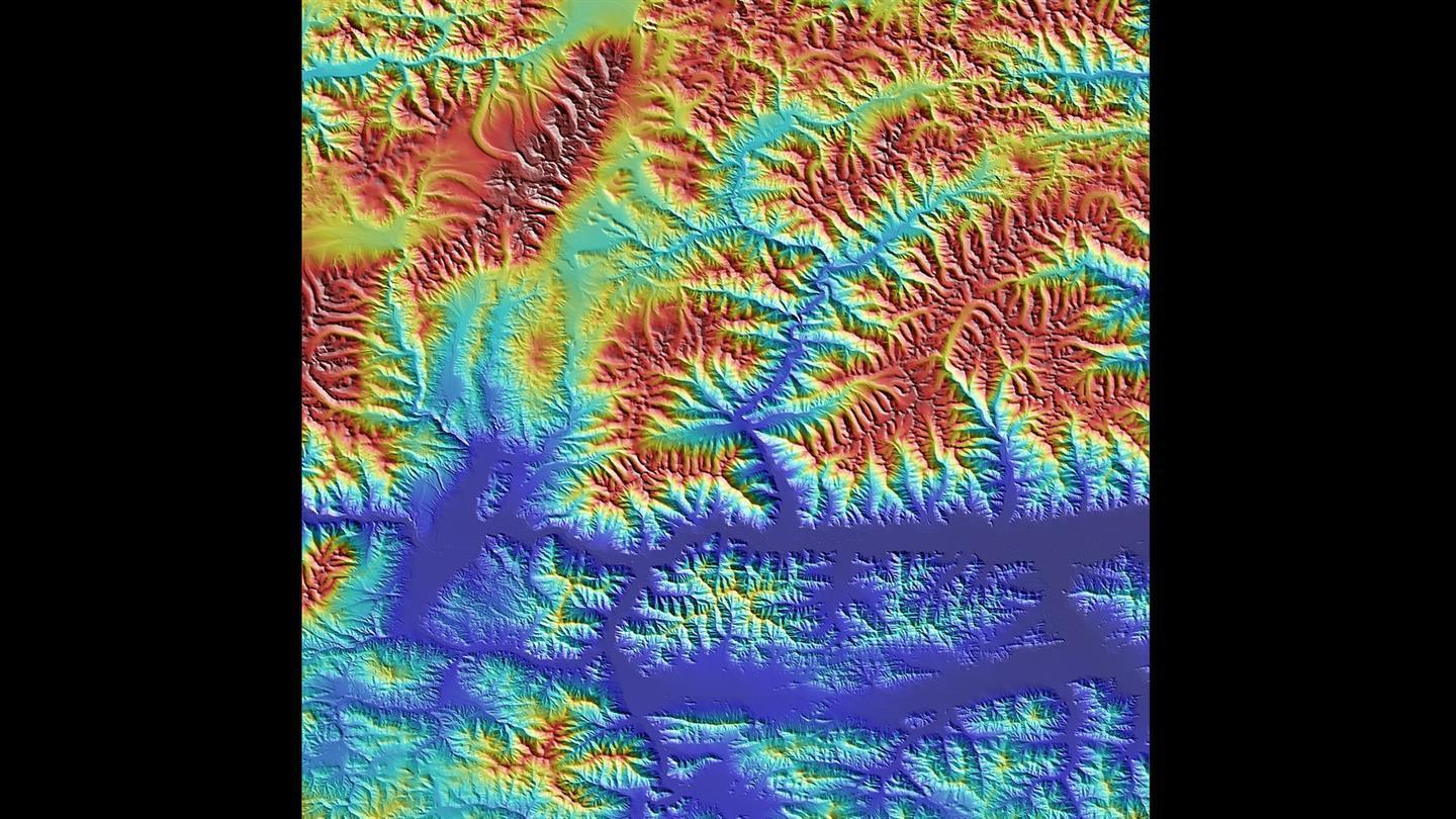 Detail from the TanDEM-X elevation model of Tibet in the Himalaya. The city of Shigatse lies in the dark blue depression on the right-hand side of the image.