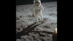 Neil Armstrong, commander of the Apollo 11 mission, stepped onto the surface of the Moon.