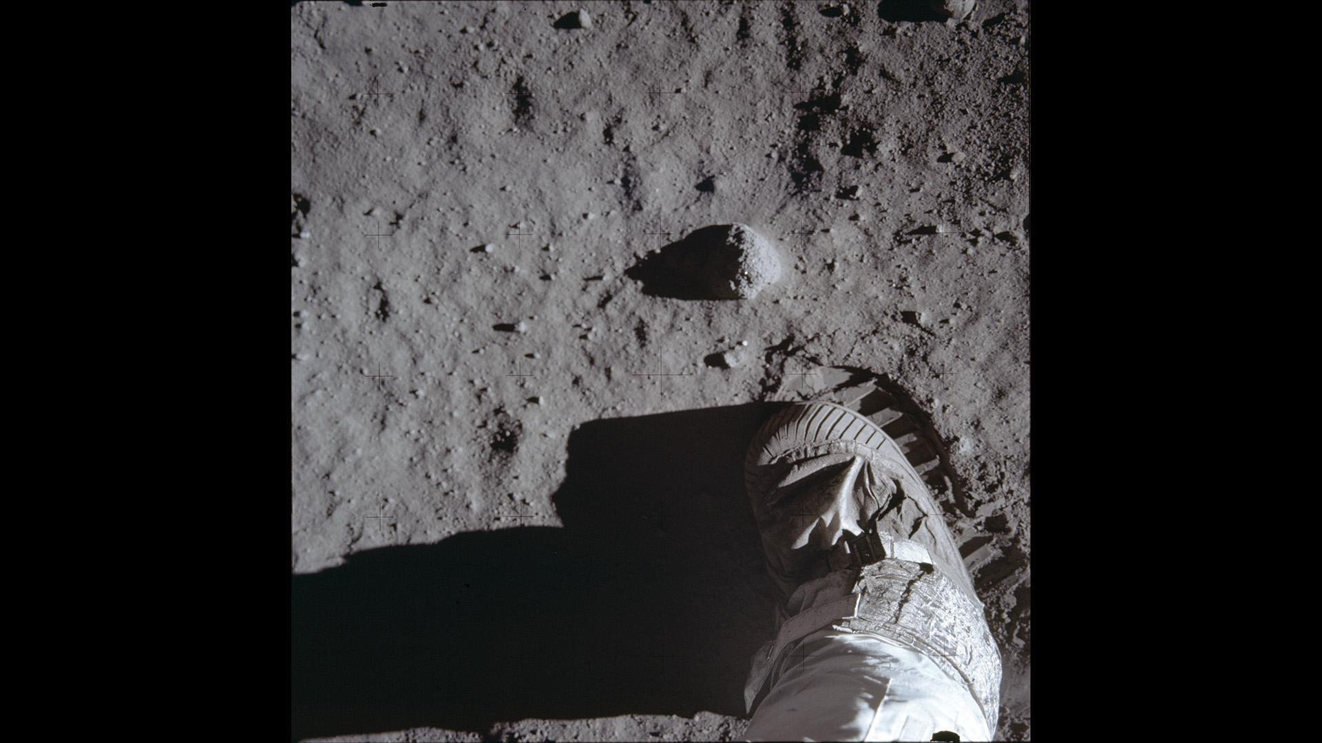 First footprints of humans on the Moon