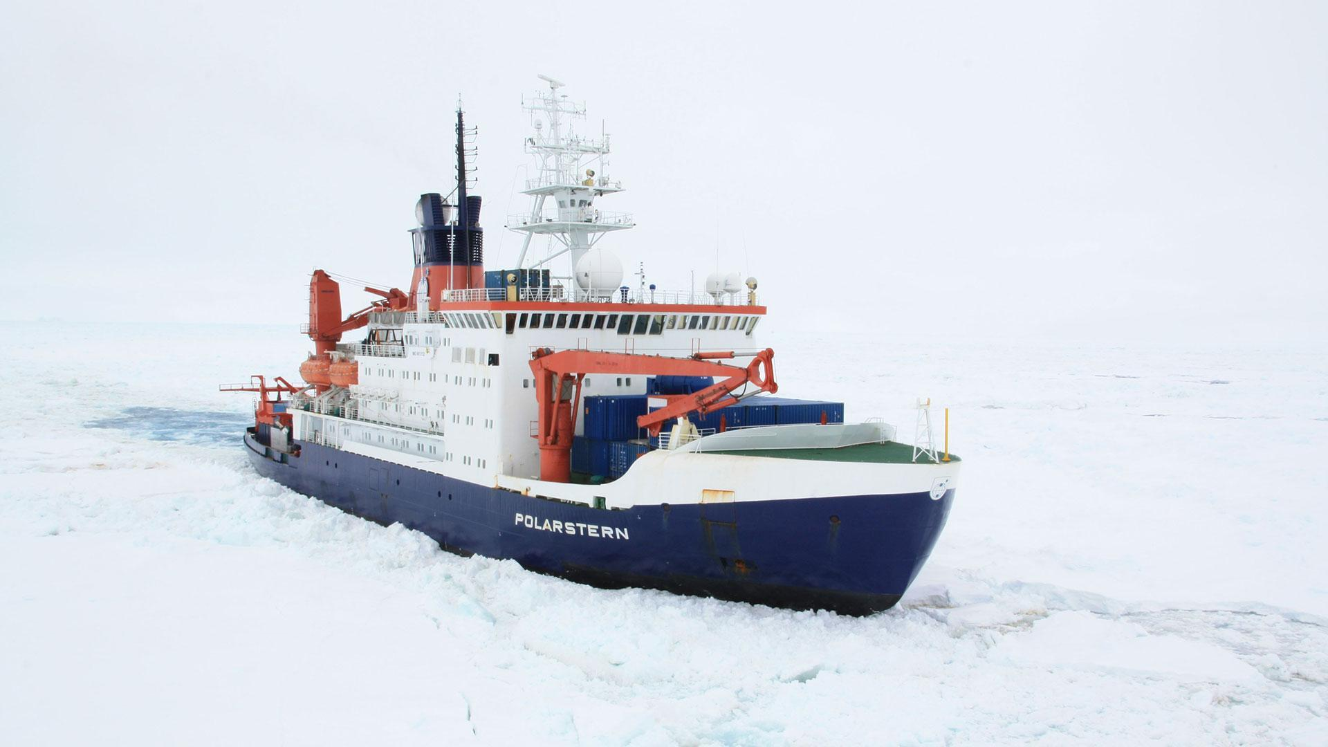 The Polarstern research icebreaker moving through the ice