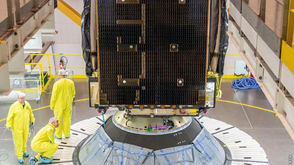 Integration of the EDRS-C satellite and the Ariane 5 launch vehicle in Kourou