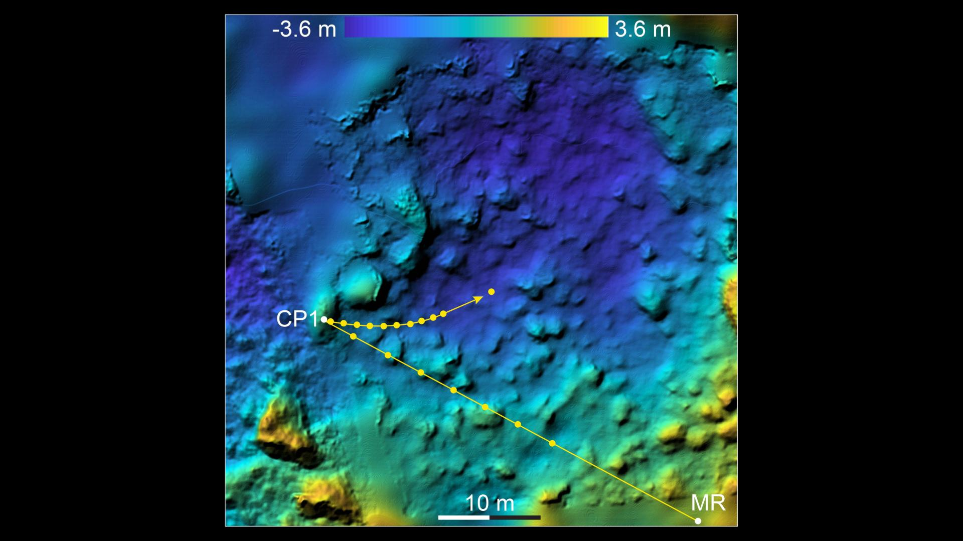 MASCOT's descent and path across the surface of Ryugu