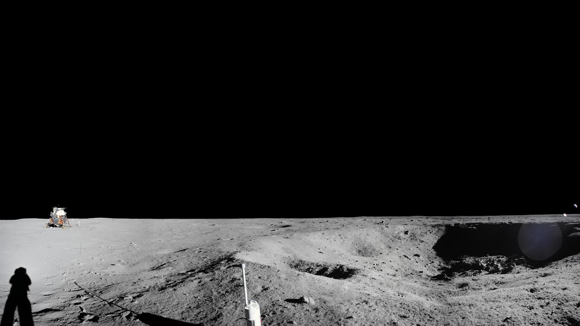 Panoramic view of the Apollo 11 landing site from Little West Crater