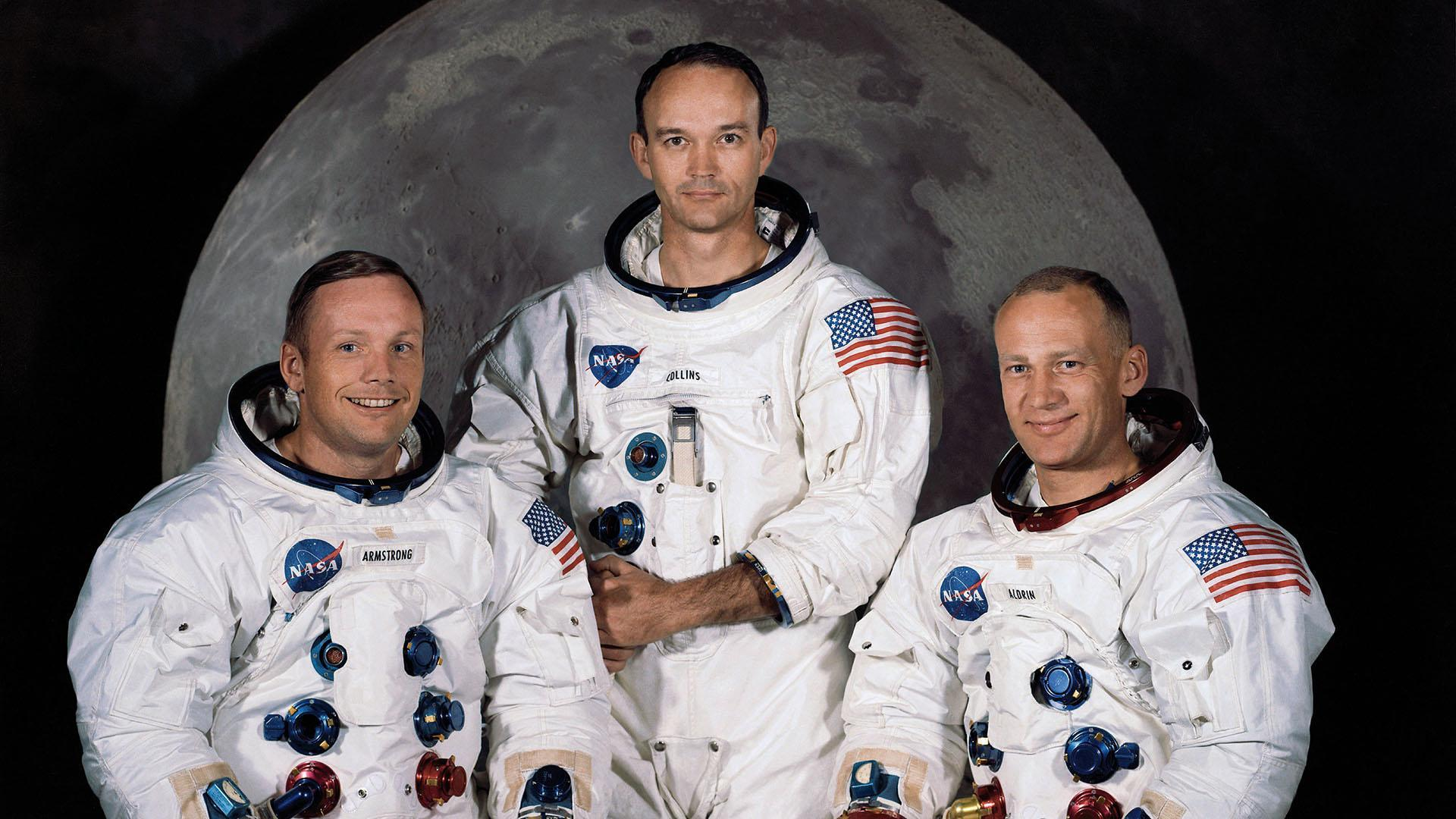 The three astronauts, Neil Armstrong (left), Michael Collins (centre) and Edwin 'Buzz' Aldrin.