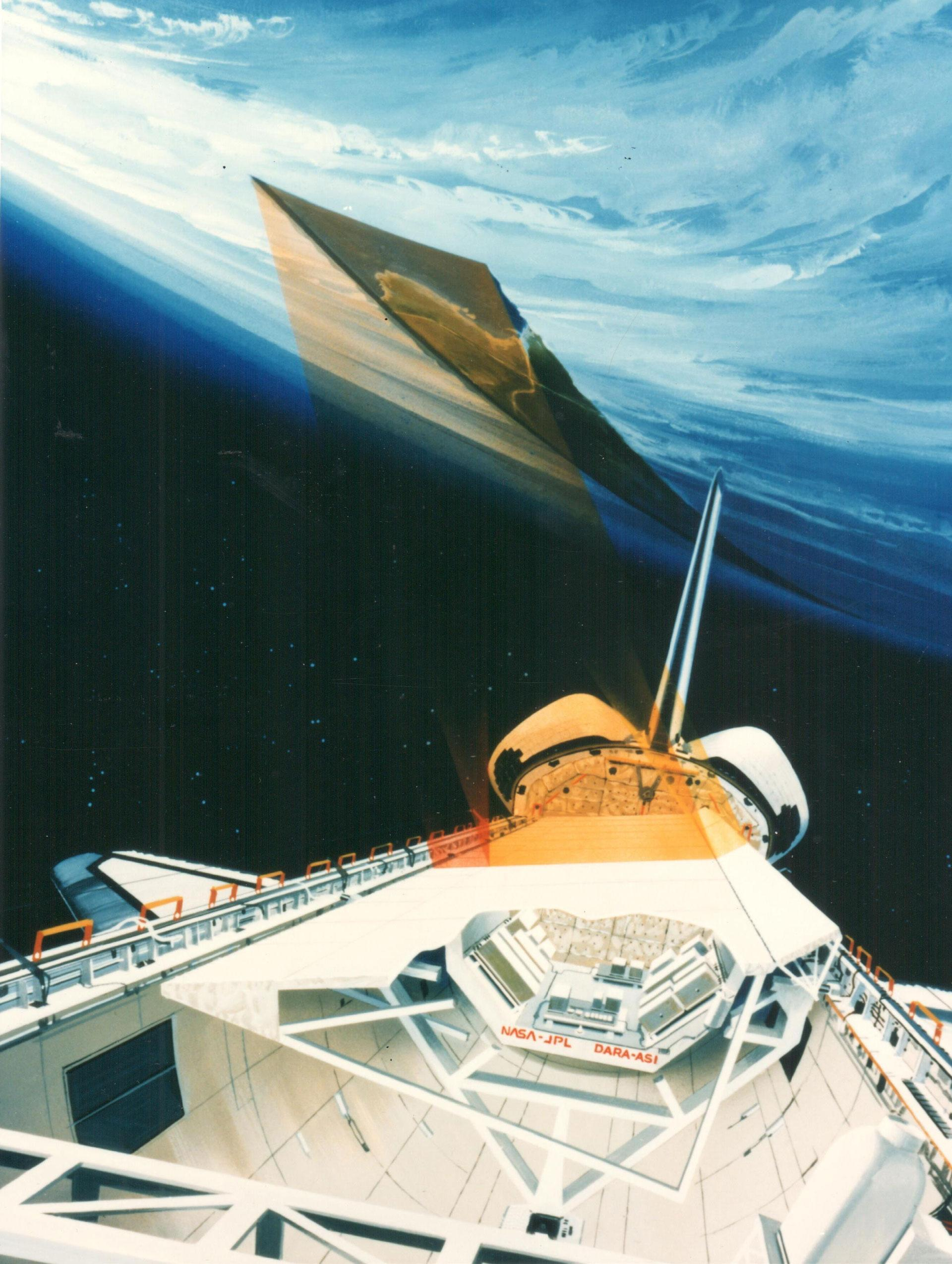 Artist's impression from 1994 of the SIR-C/X-SAR antennas in the payload bay of Space Shuttle Endeavour