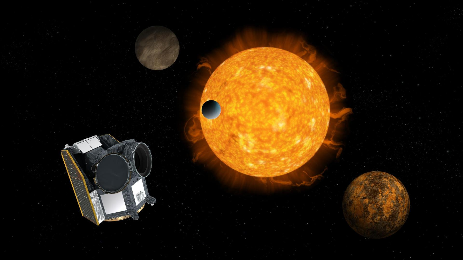 Artist's impression of CHEOPS, the characterising exoplanets satellite, with an exoplanet system in the background
