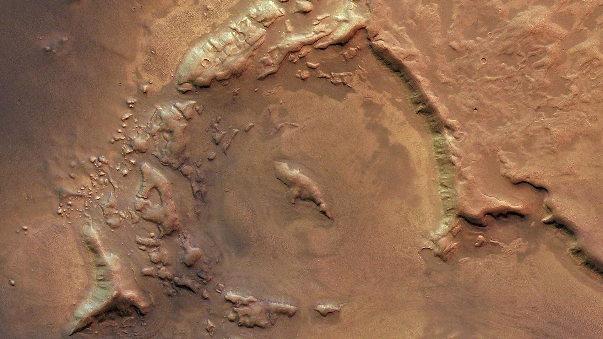 Image Detail 2: Impact crater filled with sediment
