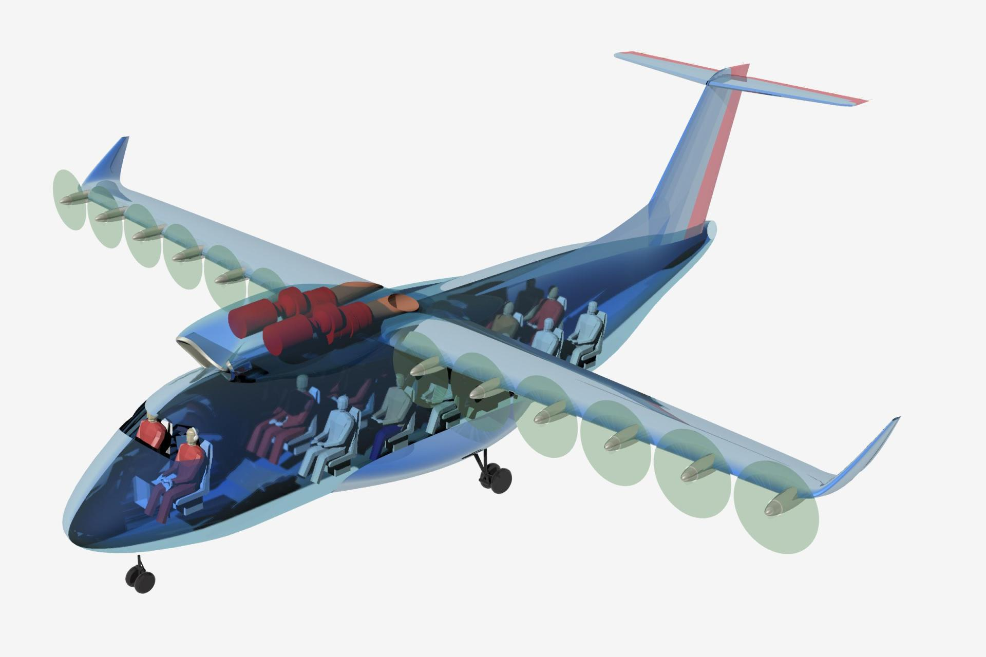 Nineteen-seater aircraft with distributed, electrically driven propellers