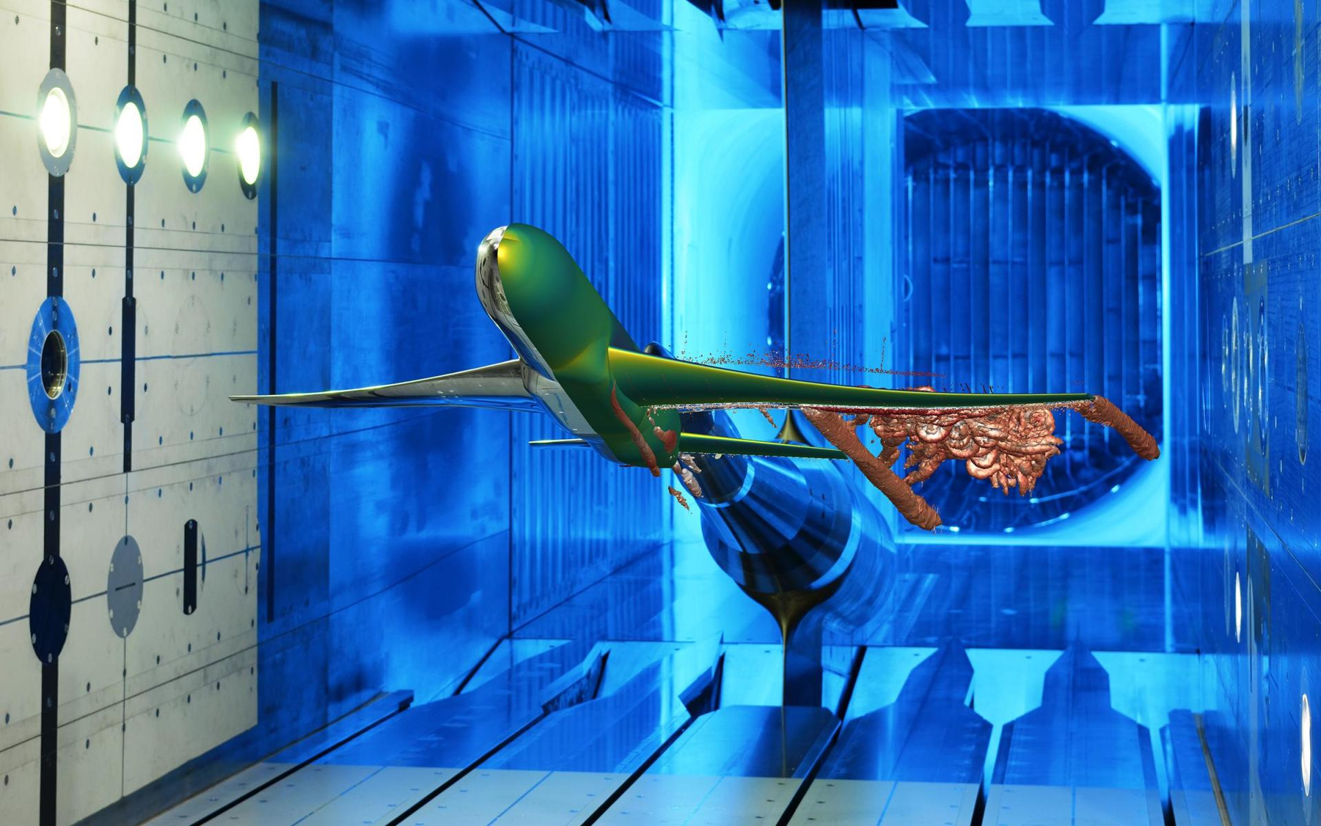 Aircraft model in the Transonic Wind Tunnel
