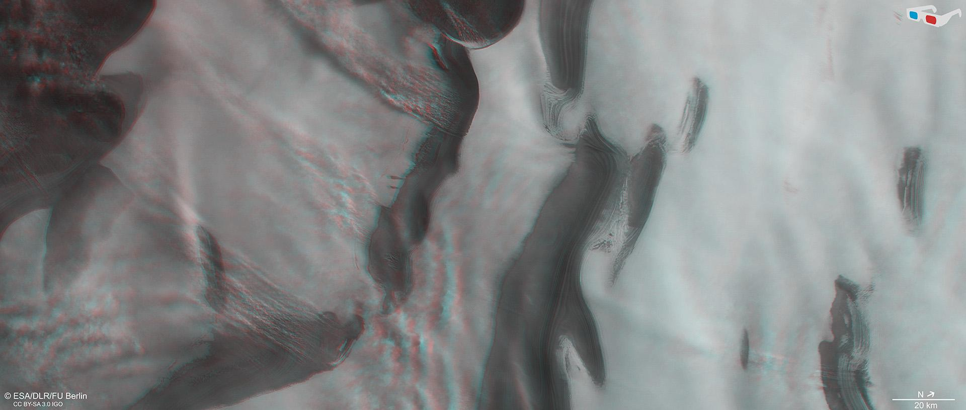 3D-view of part of the Martian north pole