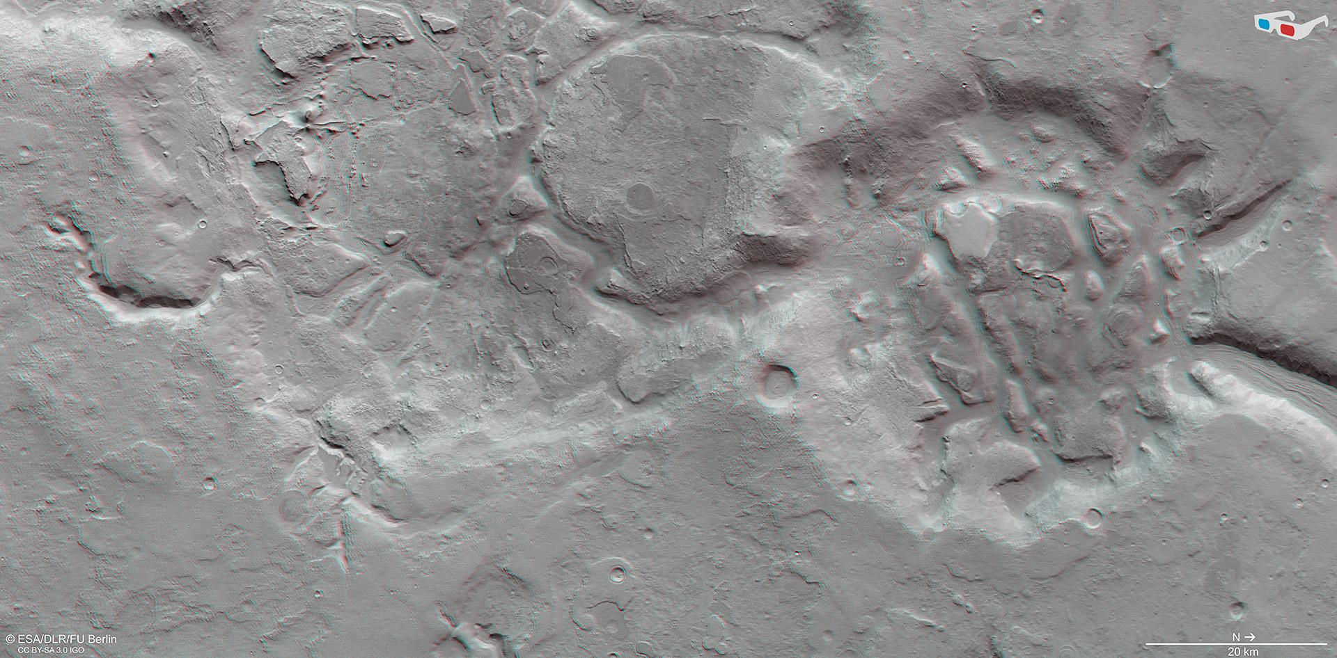 3D view of a part of the Nilosyrtis Mensae region