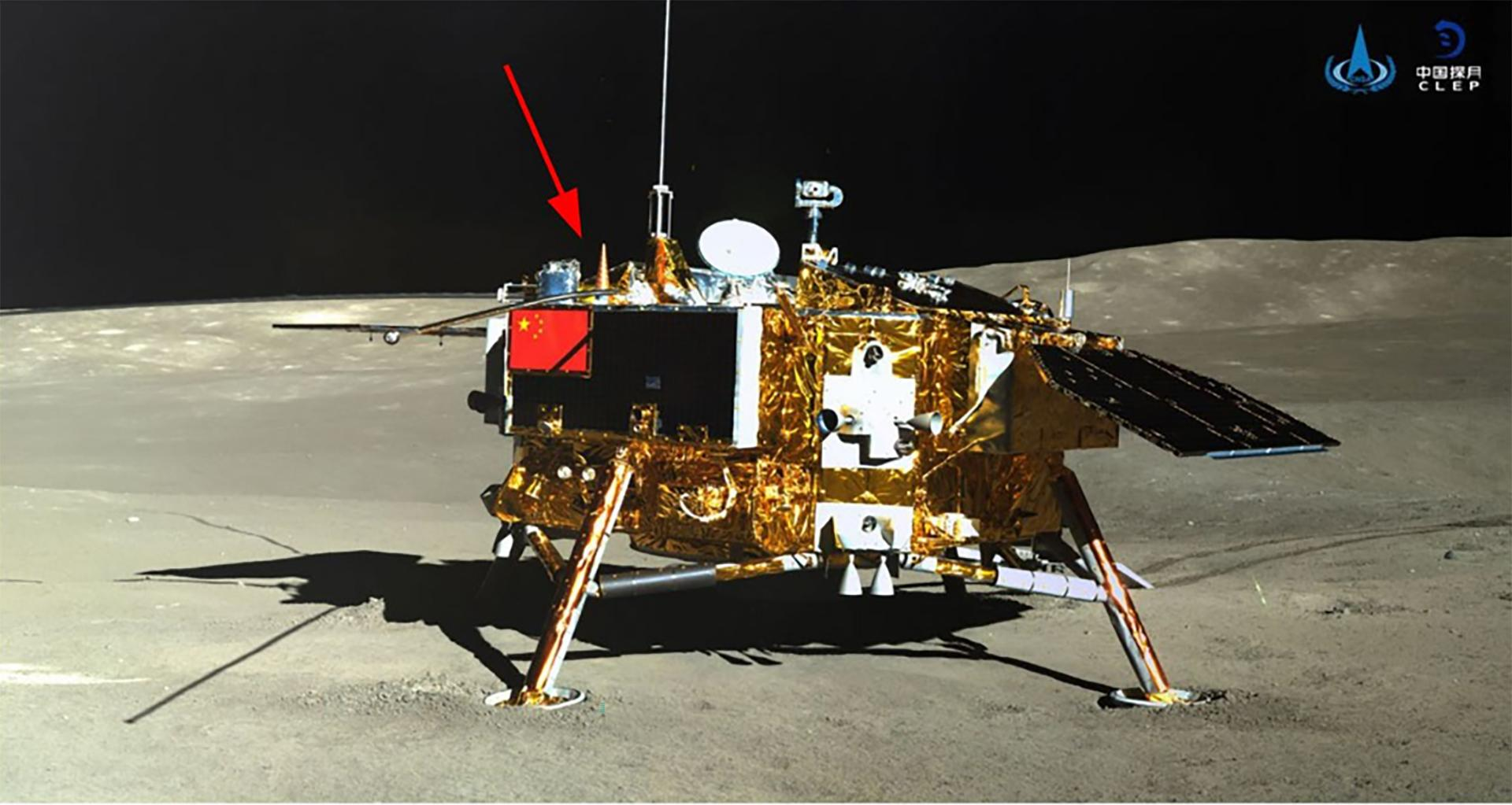 Chang'e-4 lunar lander imaged by the Yutu-2 rover