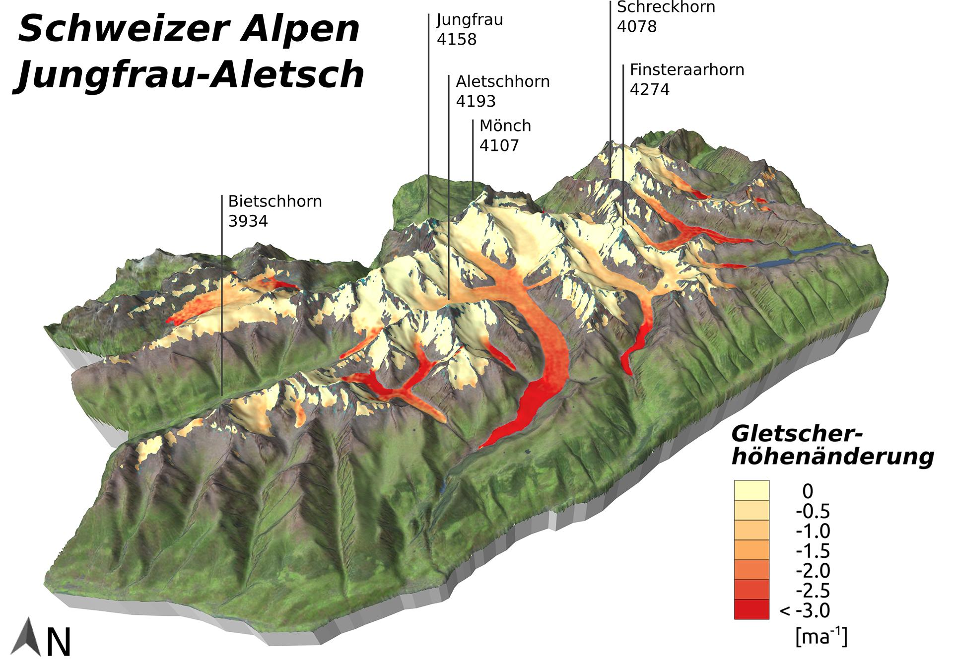 Glacier elevation changes in the Swiss Alps