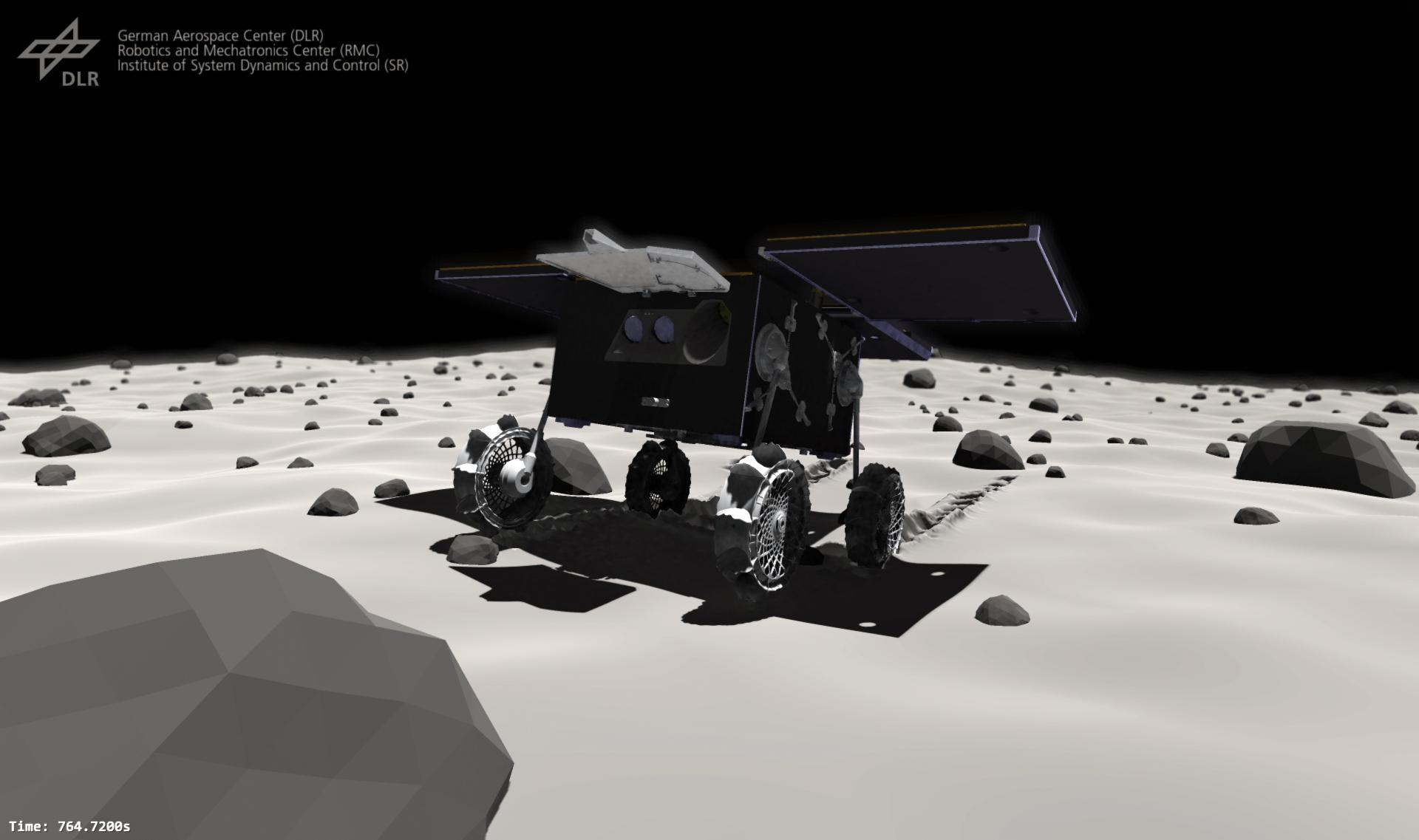 The MMX Rover moving on Phobos
