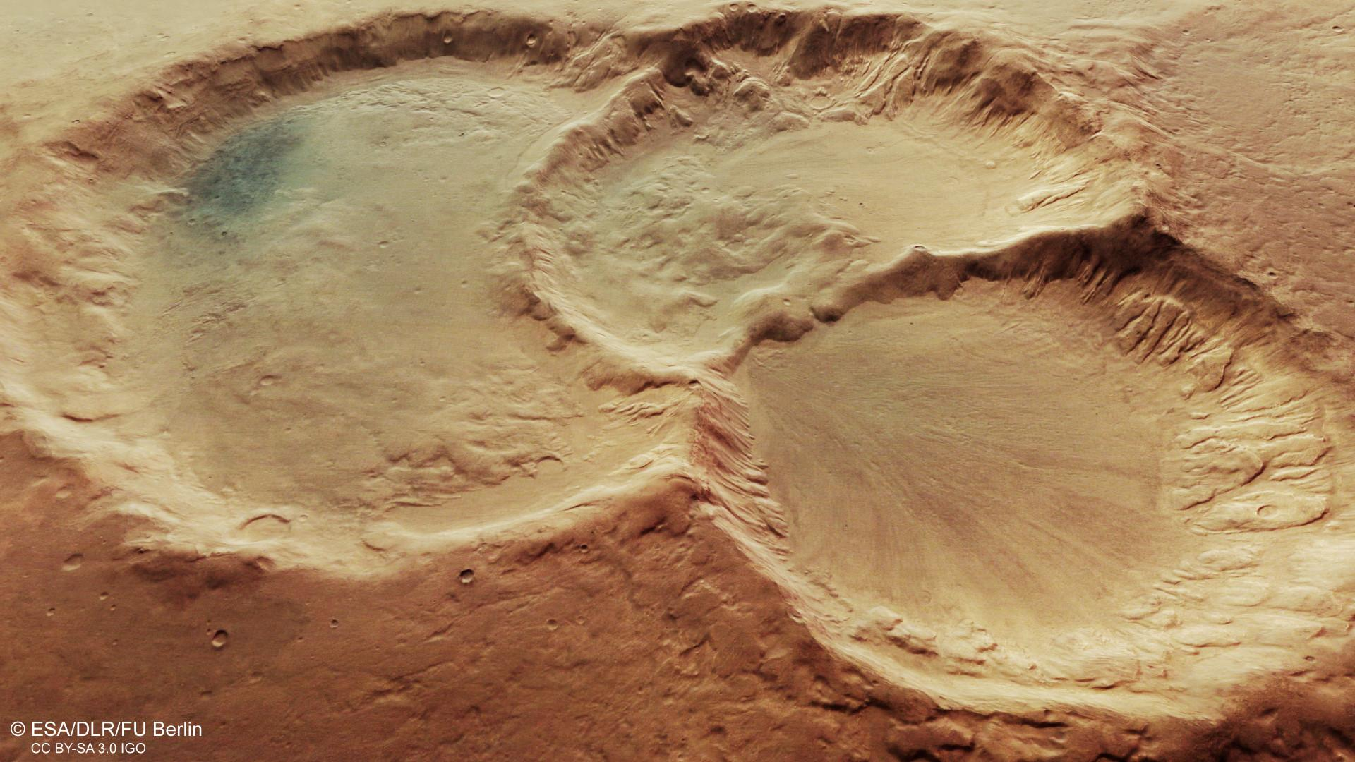 Signs of glacial activity in a crater triplet on the southern highlands of Mars