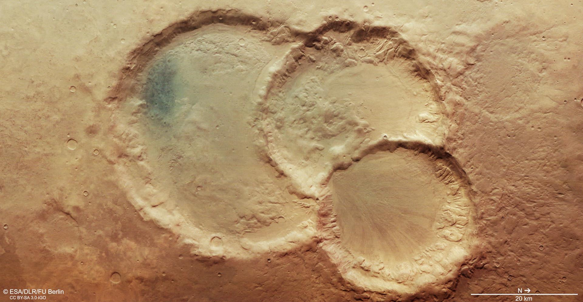 View of a crater triplet in the Noachis Terra region on Mars