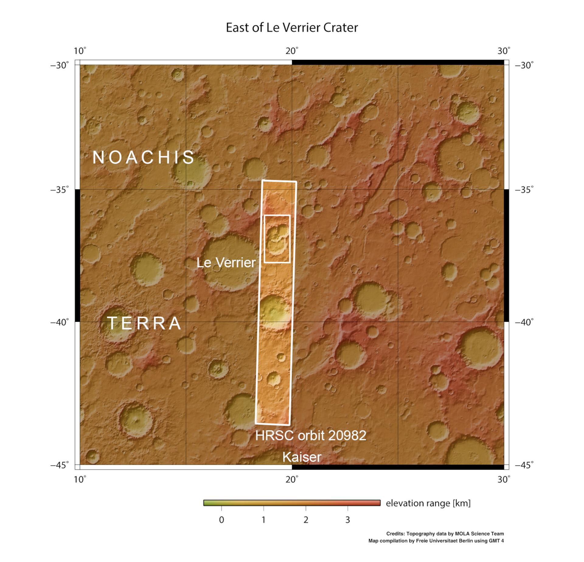 Topographic overview map of the surroundings of a crater triplet in Noachis Terra