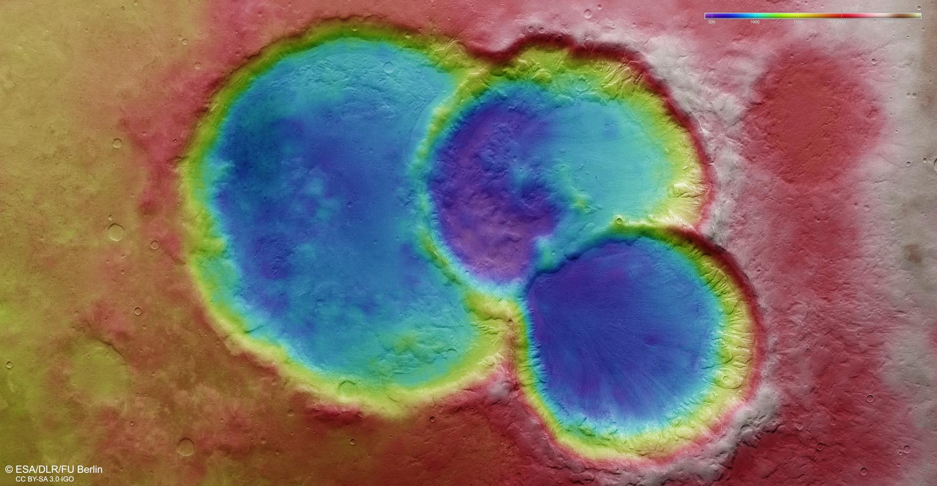Topographic map of a crater triplet in Noachis Terra