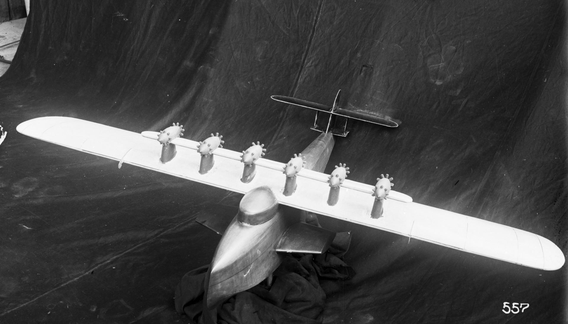 A small model of the enormous seaplane in the wind tunnel