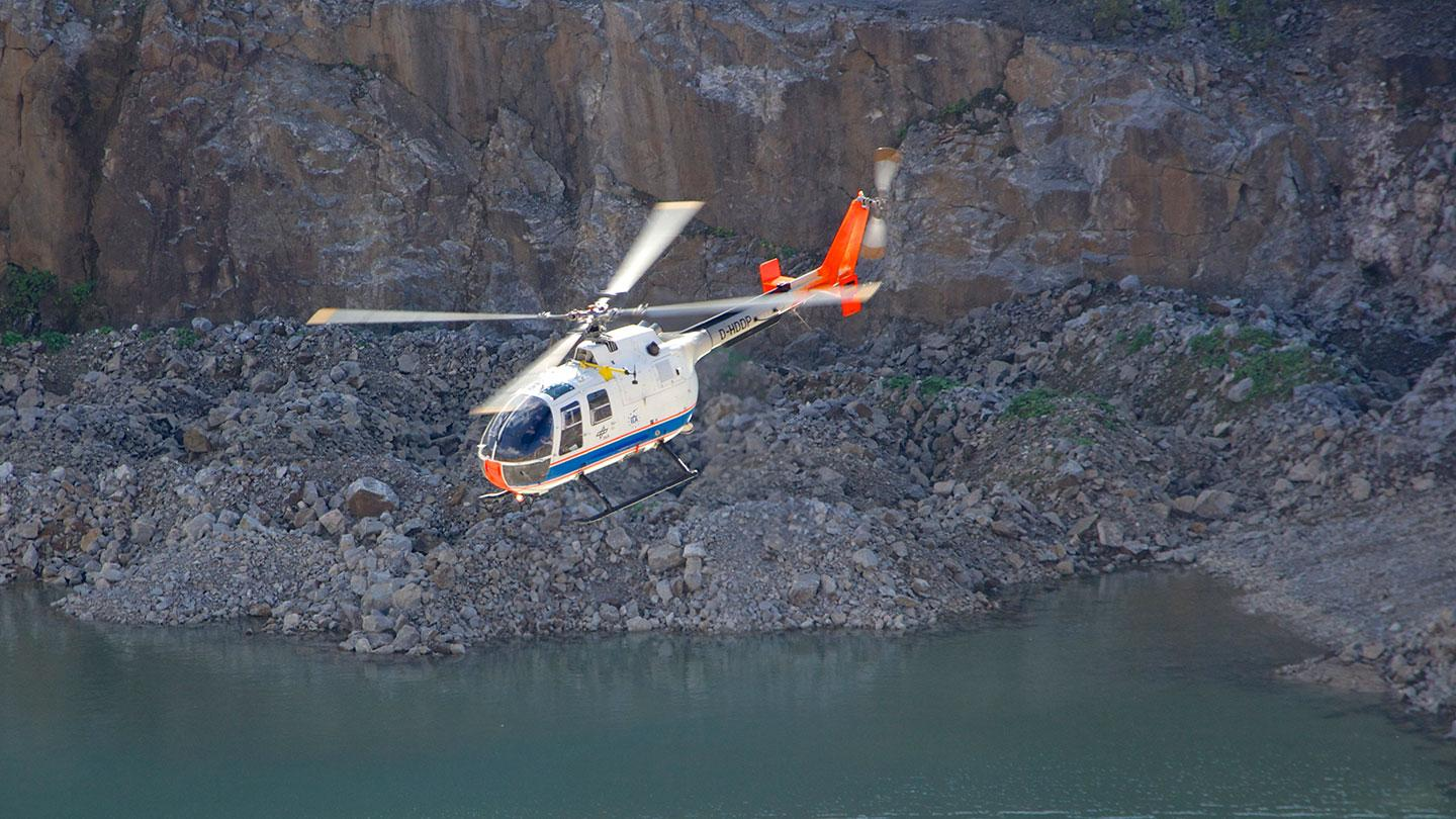 BO 105 flying in the quarry