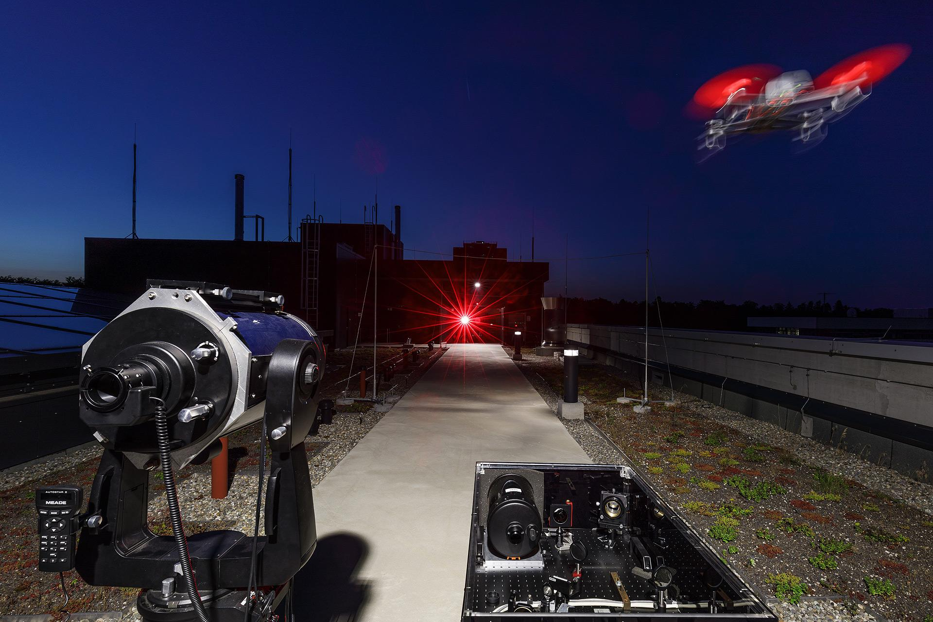 Test facility for tracking unmanned aerial vehicles using laser