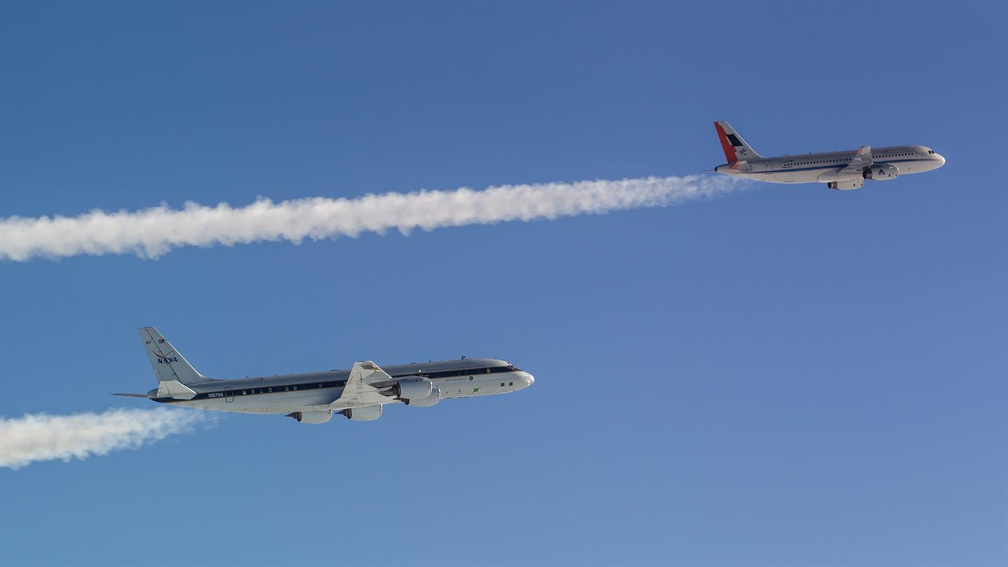 Two planes in flight